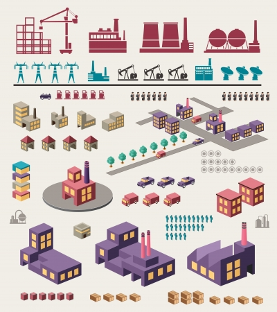 factory: Isometric set of graphics for information on a yellow Illustration
