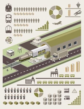 A set of vector elements on the subject of transport Illustration