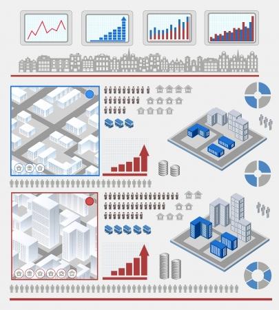 Insieme isometrico di elementi per infografica