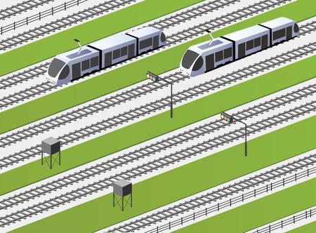 Sfondo su un tema industriale con la ferrovia