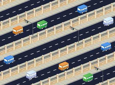 Isometric road with transport Stock Vector - 22345372