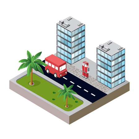 city block with houses and roads Stock Vector - 22345385