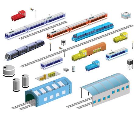 Insieme isometrico di materiale ferroviario su uno sfondo bianco