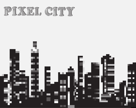 Urban silhouette in the pixel graphics Stock Vector - 22345446