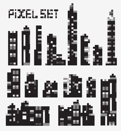 A set of pixel buildings Stock Vector - 22345477