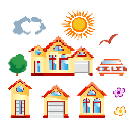 set of objects in pixel art Stock Vector - 22345491