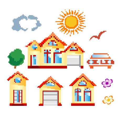 cottage garden: set of objects in pixel art