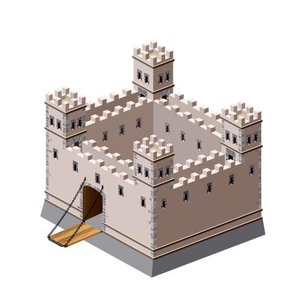 Una vista en perspectiva de una fortaleza medieval en un fondo blanco
