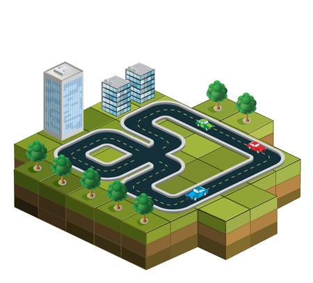 Pista con le auto e gli alberi sullo sfondo di case urbane Vettoriali