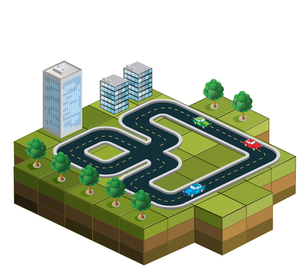 Track racing with cars and trees in the background of urban homes