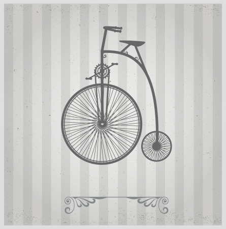 conducted: Old bicycle on a gray background