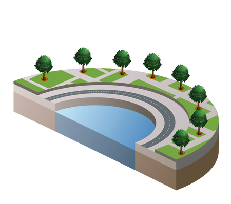 hedge trees: The isometric view of part of the urban landscape Illustration