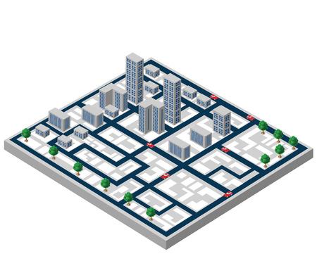 Costruzioni isometriche su una mappa della città su uno sfondo bianco