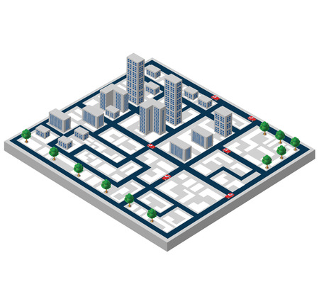Isometric buildings on a city map on a white background Ilustrace