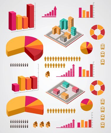 set of infographics elements on a gray background Vector