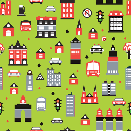 Seamless repeating pattern of urban homes and transport Stock Vector - 22345616