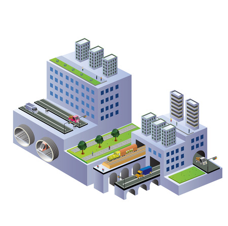 Isometric buildings on a city map on a white background Illustration
