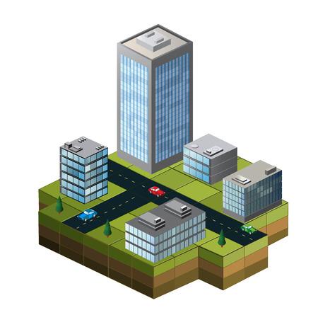 isometrico: Edificios isométricos en un mapa de la ciudad sobre un fondo blanco
