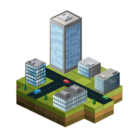Isometric buildings on a city map on a white background Stock Illustratie