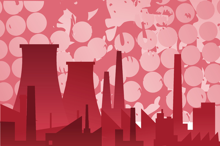 The landscape of industrial buildings in pink Vector