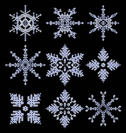 Set of snowflakes on a black background Stock Vector - 22345624