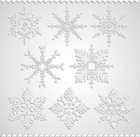 White snowflakes falling shadow on white background Stock Vector - 22345627