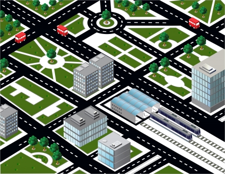 Isometric city model with transport Stock Vector - 25498358
