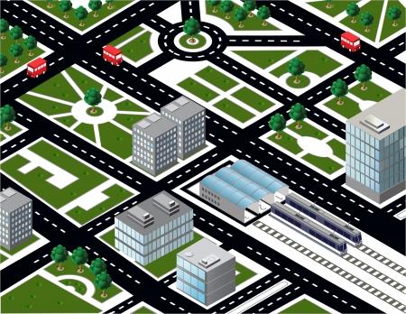 Modello isometrica città con il trasporto