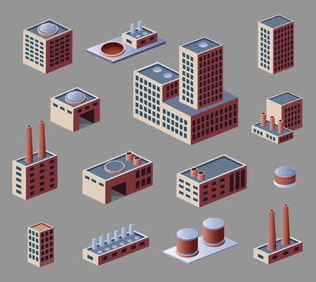Industrial buildings and factories, a set of elements Vector
