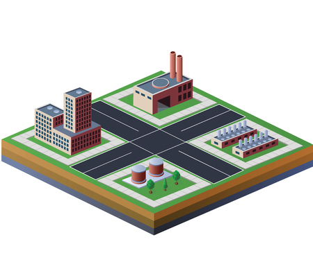 building blocks business: Industrial buildings and factories on a white background Illustration