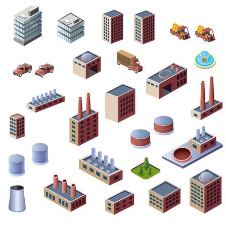 Una serie di edifici industriali su uno sfondo bianco