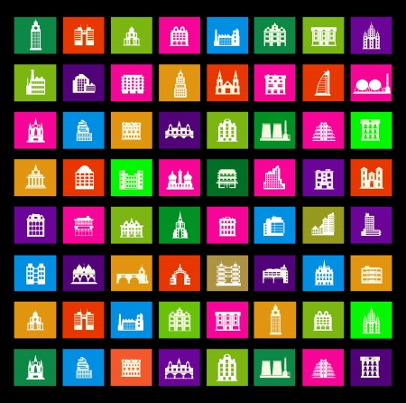 icon in different colors on a black background Vector