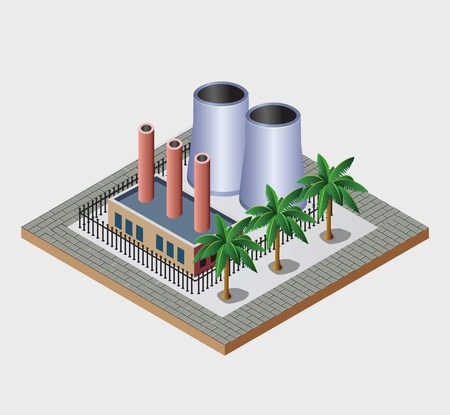 Industrial town in isometric view with the landscape