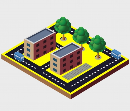 manufactory: Vector isometric buildings. Industrial Illustration