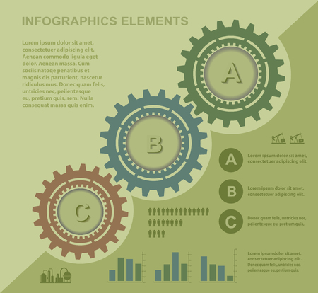 set of infographics for information on a yellow Vector