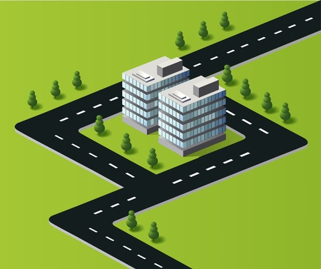 conveyer: Town in isometric view with the landscape