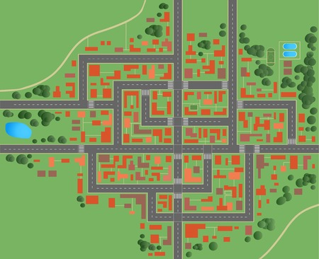 Plan of the city with streets and houses Stock Vector - 28132637