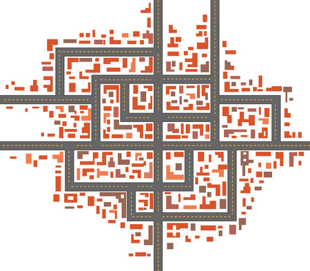urban planning: Schematic drawing of urban city maps Illustration