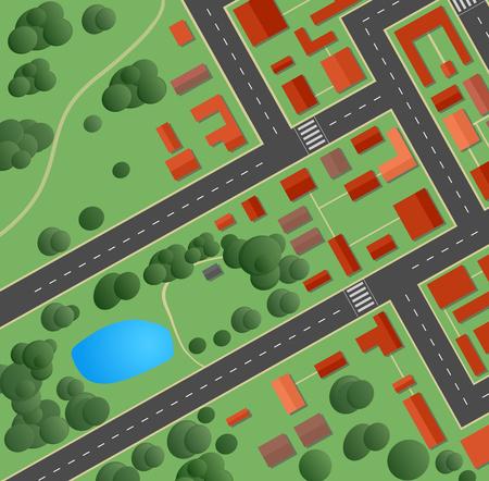 街と住宅街の計画  イラスト・ベクター素材
