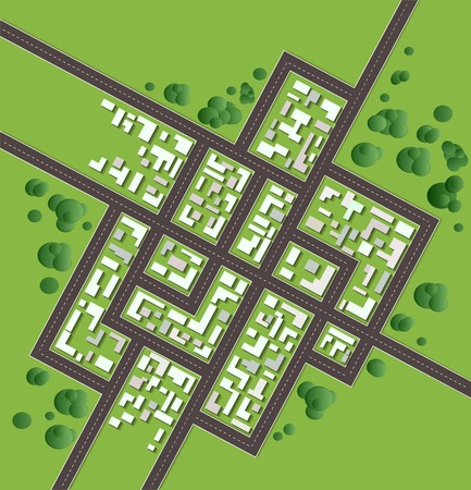 Plan of the city with streets and houses Vector