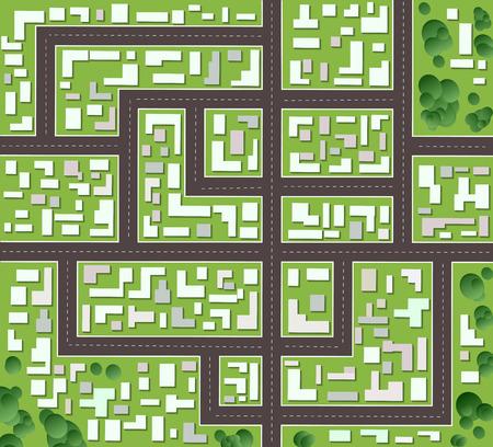 arbre vue dessus: Plan de la ville avec des rues et des maisons