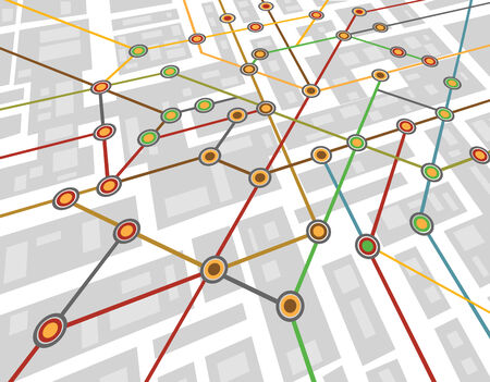 Colorful abstract subway map Vector