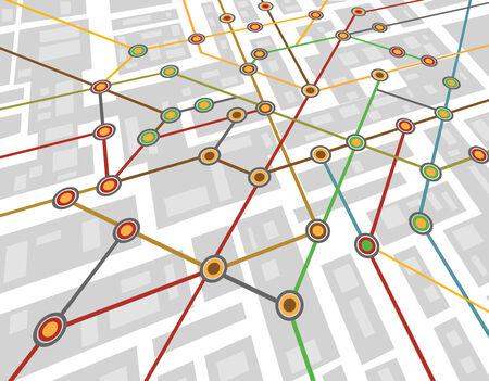 subway station: Colorful abstract subway map Illustration