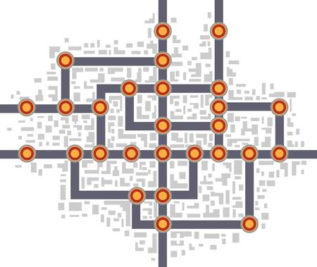 subway road: Colorful abstract subway map Illustration