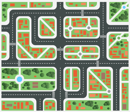 Plan of the city with streets and houses Stock Vector - 29120818