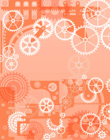 time machine: Elements of mechanism on a red background Illustration