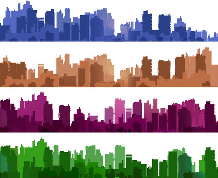 city scape: City silhouettes of different colors on white