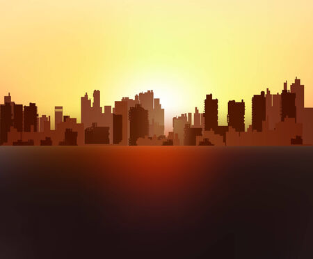 renting: Silhouette of urban high-rise buildings