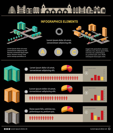 Isometric set of graphics for information on a black background Vector