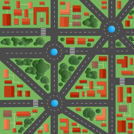 bloques: Plano de la ciudad con calles y casas